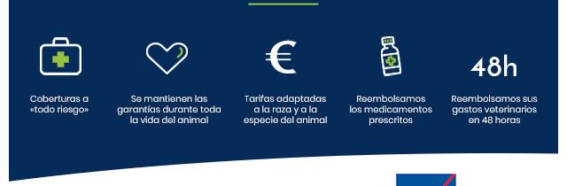 Coberturas a                      «todo riesgo» / Se mantienen las                      garantías durante toda                      la vida del animal / Tarifas adaptadas                      a la raza y a la                      especie del animal / Reembolsamos                      los medicamentos                      prescritos / Reembolsamos sus gastos veterinarios                      en 48 horas
